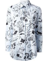 Carven Striped Tattoo Print Shirt - Lyst