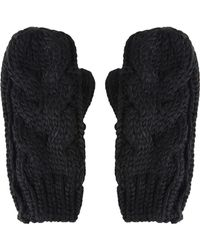 Topshop Womens Cable Knit Mittens  Black - Lyst