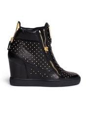 Giuseppe Zanotti 'Lorenz' Stud Leather Wedge Sneakers - Lyst