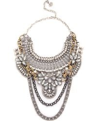Laura Cantu - Ethnic Double Necklace - Clear/Brass - Lyst