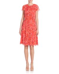 Carolina Herrera | Printed Silk Georgette Cocktail Dress | Lyst