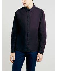Topman Premium Long Sleeve Burgundy Linen Smart Shirt - Lyst