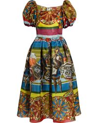 Dolce & Gabbana Printed Silk Crepe Dress - Lyst