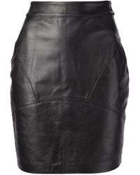 T By Alexander Wang Leather Back Flutter Skirt - Lyst