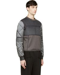 Calvin Klein Grey Quilted Cupro and Wool Gotham Sweatshirt - Lyst
