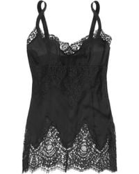 Dolce & Gabbana Lace Paneled Georgette Camisole - Lyst