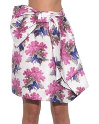 Caterina Gatta Bow-Front Floral-Print Skirt - Lyst