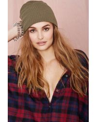 Nasty Gal Hot Headed Beanie  Olive - Lyst