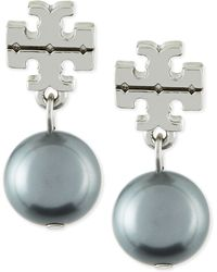 Tory Burch Silvertone Logo Pearl Drop Earrings - Lyst