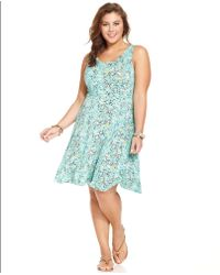 American Rag - Plus Size Sleeveless Printed Skater Dress - Lyst