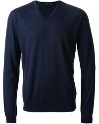 Calvin Klein Blue Knit Sweater - Lyst