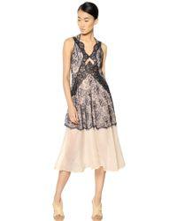 Stella McCartney Viscose Lace On Silk Organza Long Dress - Lyst