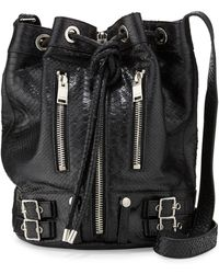 Saint Laurent Rider Medium Python-print Bucket Bag - Lyst