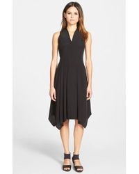Eileen Fisher V-Neck Silk Dress - Lyst