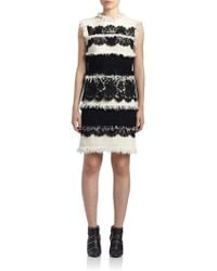 Lanvin | Lace-panel Tweed Dress | Lyst