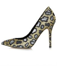 Topshop Leopard Glitter Courts - Lyst