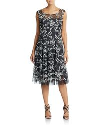 Vera Wang Lace Embroidered Illusion Top Dress black - Lyst