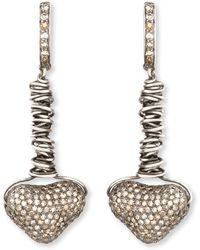 Irit Design - Dangling Pave Diamond Heart Earrings - Lyst