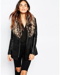 Warehouse - Faux Leather And Faux Fur Collar Jacket - Lyst