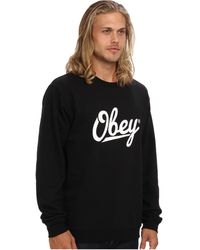 Obey Jordaan Script Basic Crew Neck Fleece - Lyst