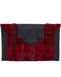 Reece Hudson - Oversized Red Check Bowery Clutch Bag - Lyst