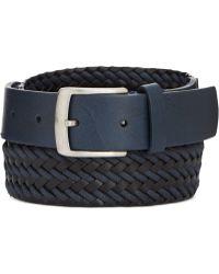 Tommy Hilfiger Navy Braided Cord Buckle Belt - Lyst