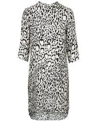 Topshop Monochrome Animal Print High Neck Dress - Lyst