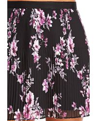 Love 21 Pleated Floral Chiffon Skirt - Lyst