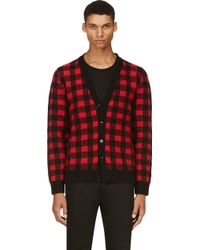 Saint Laurent Red and Black Check Wool Cardigan - Lyst