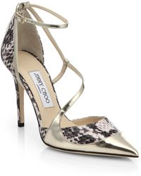 Jimmy Choo Mutya Two-Tone Leather Strappy Pumps - Lyst
