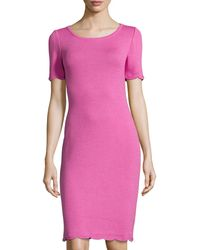 St. John Scalloped-Trim Short-Sleeve Dress - Lyst