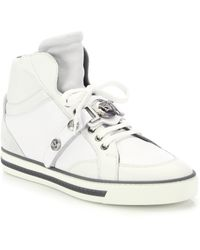Versace First Medusa Strap Leather High-Top Sneakers - Lyst
