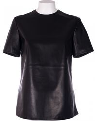 Givenchy Black Leather Oversize T-Shirt black - Lyst