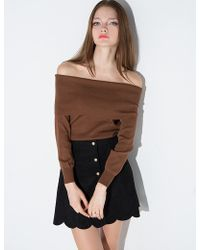Pixie Market   brown Brown Off The Shoulder Sweater   Lyst