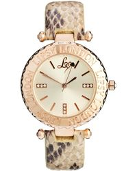 Lipsy - Nude Snake Strap Watch Wiith Cream Dial - Lyst