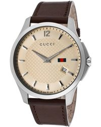 Gucci Men'S G-Timeless Brown Genuine Leather Ivory Dial - Lyst