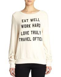 Wildfox Mantra-Print Sweatshirt beige - Lyst