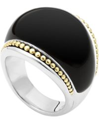 Lagos Silver Enso Smooth Dome Ring With 18K Gold - Lyst