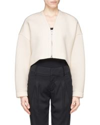 Helmut Lang Bonded Jersey Cropped Jacket beige - Lyst
