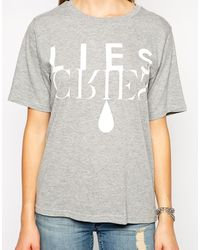 Cheap Monday Lies Cries Tshirt - Lyst
