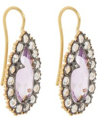 Cathy Waterman Diamond Sapphire  Amethyst Drop Earrings - Lyst