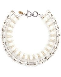 Venna Chain Link Resin Pearl Collar Necklace - Lyst