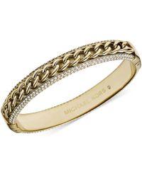 Michael Kors Goldtone Curb Chain and Pavé Hinge Bangle Bracelet - Lyst
