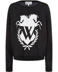 Wildfox Old School Logo Sweater - Lyst