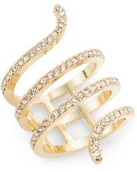 Cara - White Stone Snake Ring/goldtone - Lyst