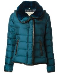 Burberry Brit Leather Trimmed Padded Jacket - Lyst
