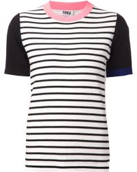 Sonia By Sonia Rykiel Striped Colour Block T-shirt - Lyst