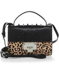 Jimmy Choo Rebel Studded Leopard-Print Cork & Leather Crossbody Bag - Lyst