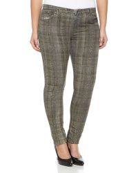 Haute Hippie Plaid Snake-Print Skinny Jeans - Lyst