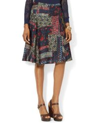 Lauren by Ralph Lauren Patchworkprint Aline Silk Skirt - Lyst